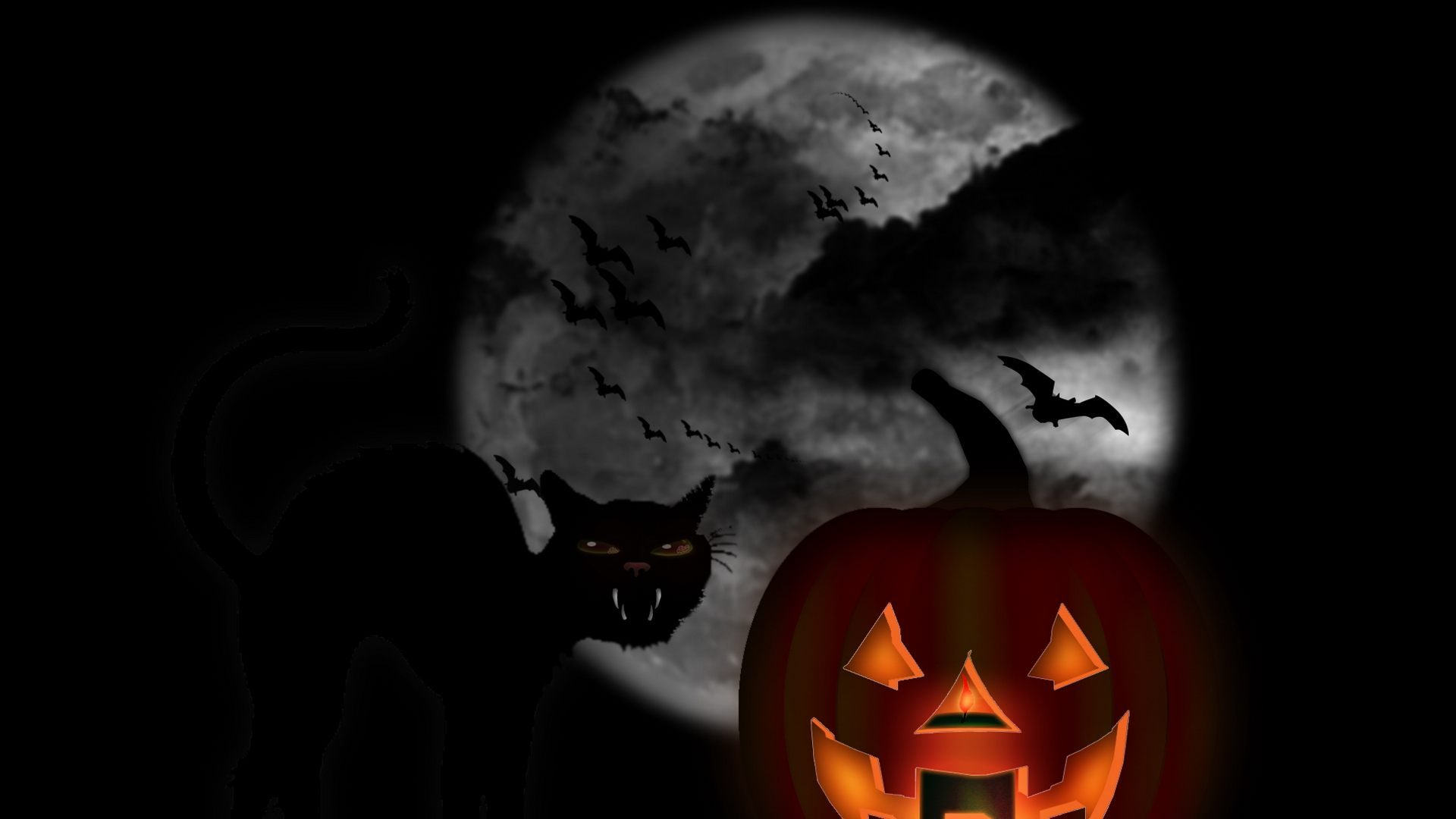 Noche de halloween 3d 1920x1080 fondos de pantalla y - Scary halloween screensavers animated ...